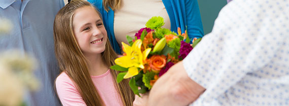 Patient Receiving Flowers from Gift Shop